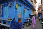 Blue buildings.