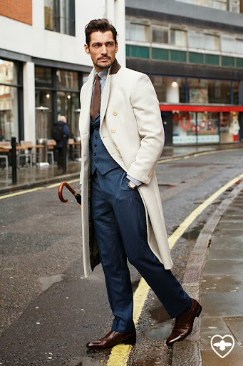 David Gandy; Model; David Gandy design overcoat tailored by Neil Fennell; David Gandy design suit tailored by Neil Fennell; Eton shirt; Drakes tie; Russell and Bromley shoes;