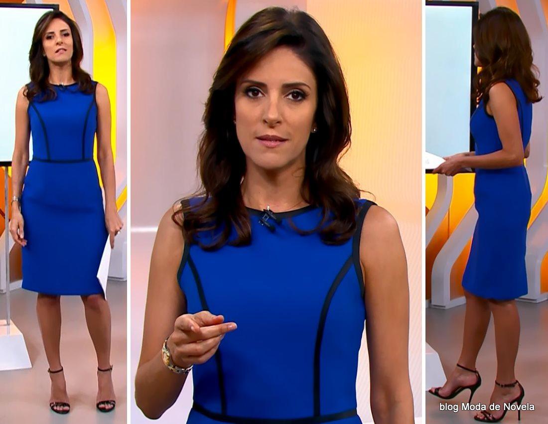 moda do programa Hora 1, vestido azul com viés preto da Monalisa Perrone dia 7 de janeiro