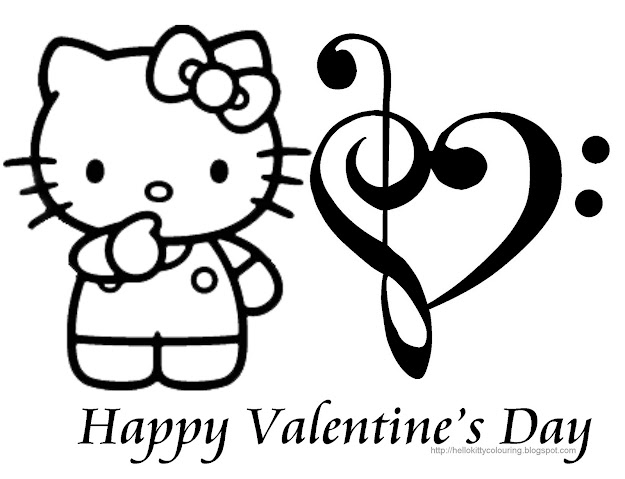 Valentine Day Hello Kitty Coloring Book Pages Colorine Net