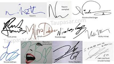contoh tanda tangan huruf N