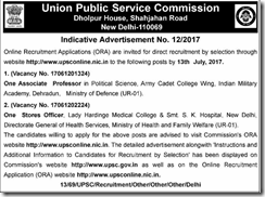 UPSC Indicative Advertisement No 12-2017 www.indgovtjobs.in
