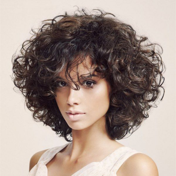 PLEASANT CURLY HAIR WITH BANGS FOR WOMEN IN 2019 1