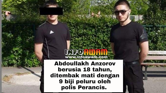 Al fatihah Abdoullakh Anzorov berusia 18 tahun, ditembak mati dengan 9 biji peluru oleh polis Perancis