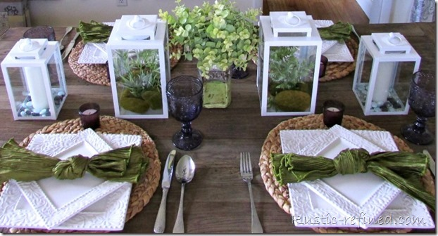 Green, White and Purple Summer Time Tablescape