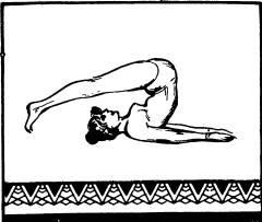 На вдохе поднять ноги и занести их за голову и коснуться пальцами пола как можно дальше за головой