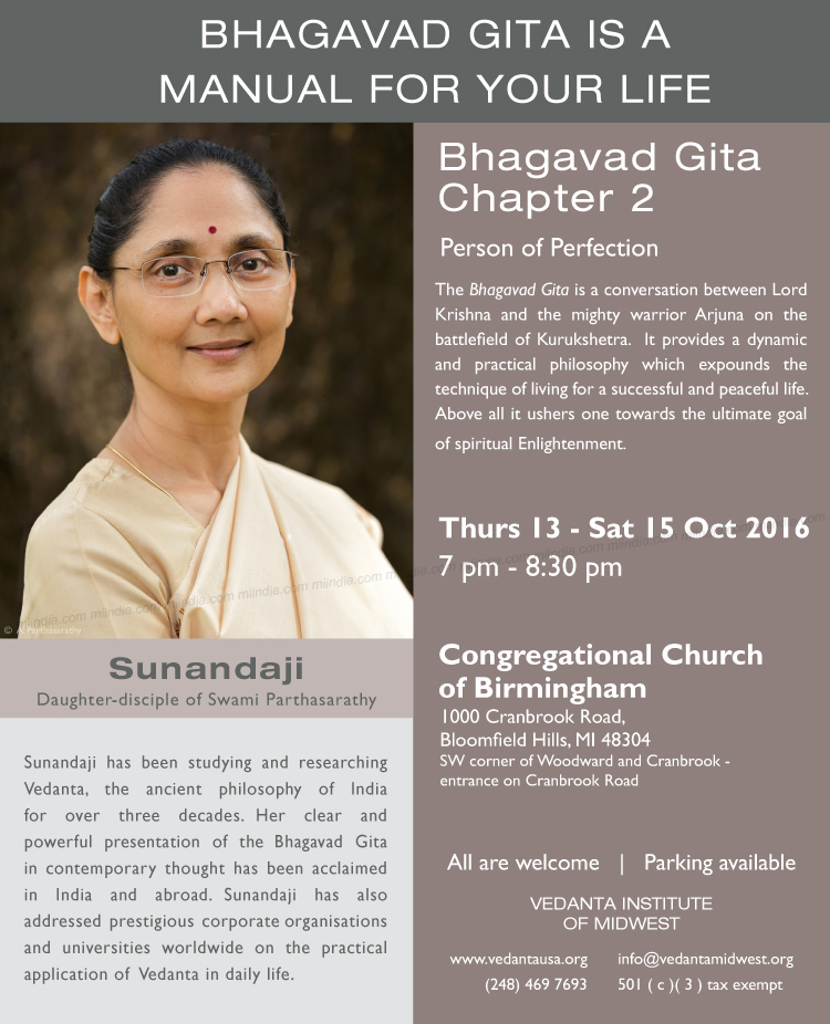 Bhagavad Gita Lecture Series by Sunandaji in Detroit, Michigan