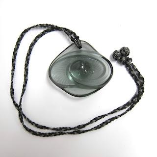 Lalique NEW Cecelia Fume Crystal Eye Pendant Necklace