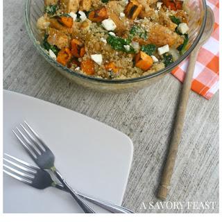 Sweet Potato & Chicken Quinoa Salad with Feta.