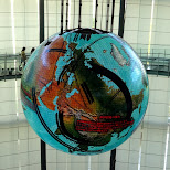 the globe at the Miraikan Museum of Emerging Science and Innovation keeps changing in Odaiba, Tokyo, Japan
