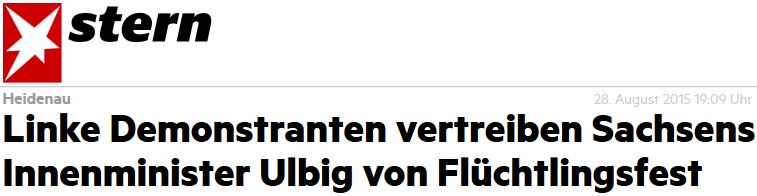 Linke Demonstranten vertreiben Sachsens Innenminister Ulbig von Flüchtlingsfest