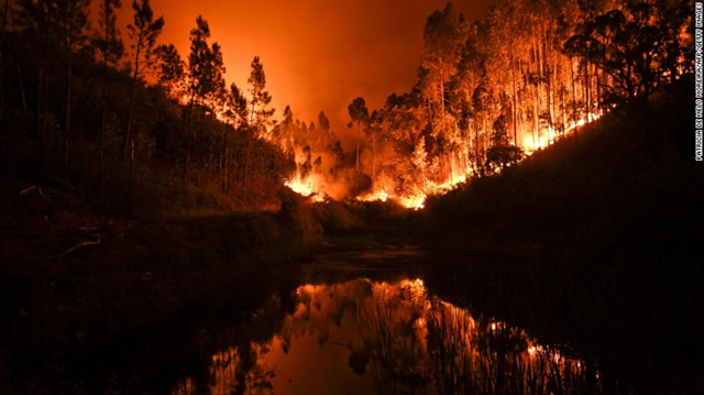 A massive wildfire is reflected in a stream in central Portugal on Sunday, 18 June 2017. Several hundred firefighters fought the blaze, which broke out Saturday in the municipality of Pedrogao Grande. Photo: Patricia de Melo Moreira / AFP