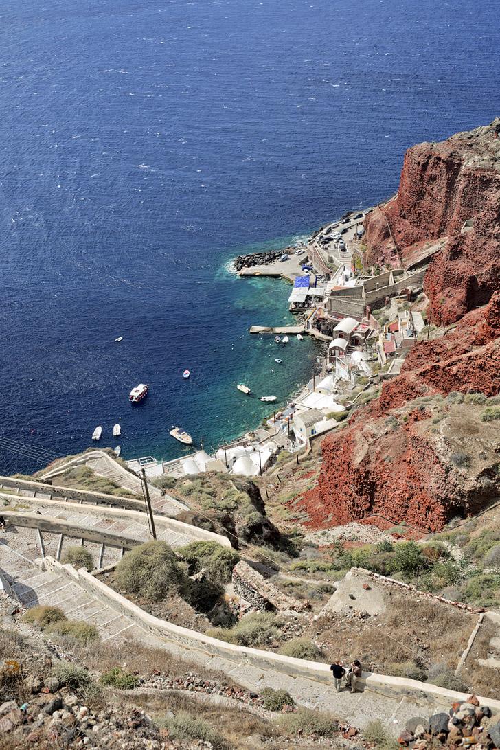 Santorini Port at Oia Santorini Greece.
