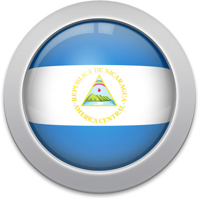 Nicaraguan flag icon with a silver frame
