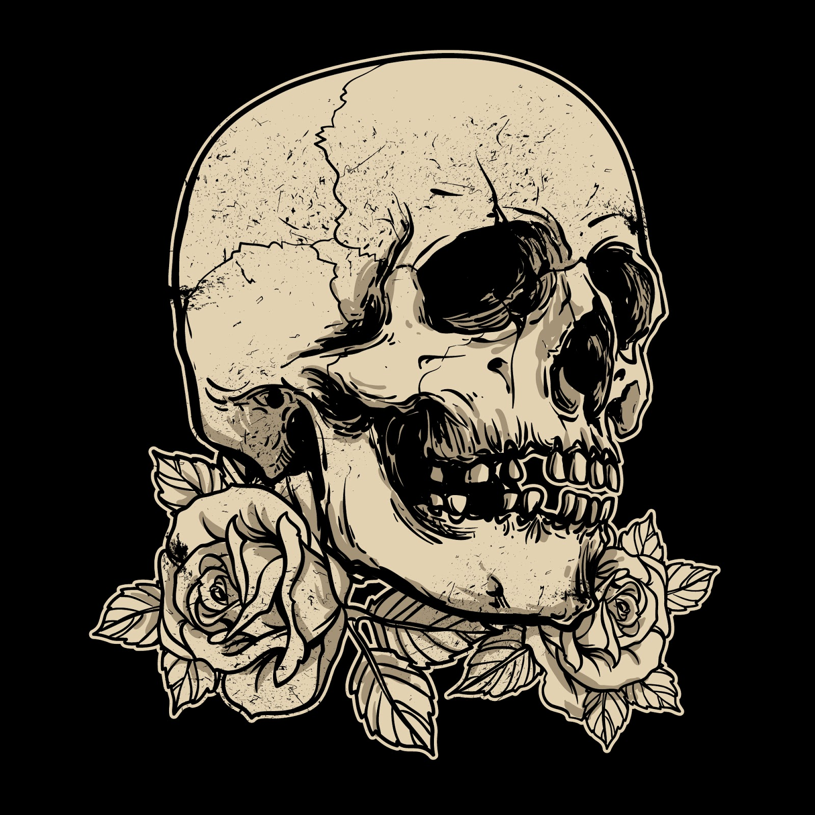 Hand Drawing Skull With Rose Free Download Vector CDR, AI, EPS and PNG Formats
