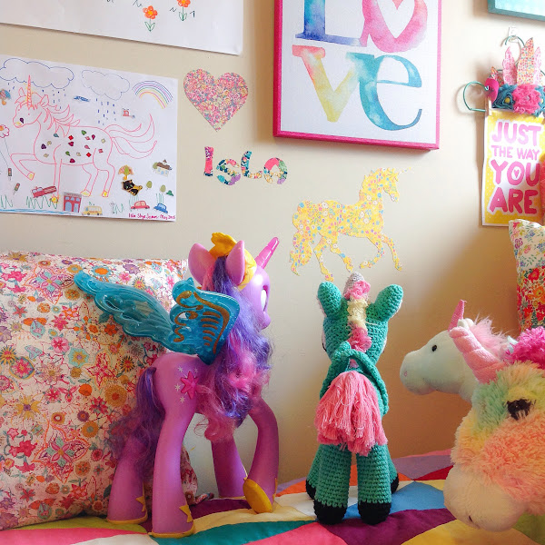Liberty Fabric Unicorn Wall Decal Kayoko Print Girls Rainbow Room Colourful Decor Wall Art