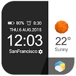Flat&Card Style weather clock Icon