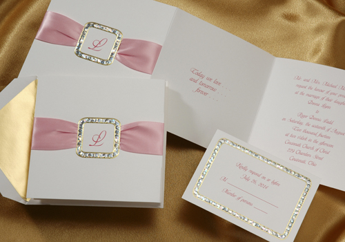 Foil Stamped Rhinestone And Pink Satin Ribbon Wedding Invitations