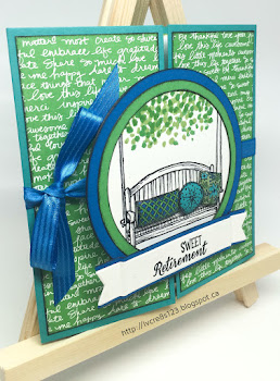 Linda Vich Creates: Sitting Here Retirement Card. The hanging swing from Sitting Here is the focal image of this lively and bright color schemed retirement card.