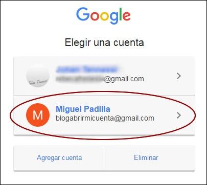 Elegir correo para acceder a YouTube