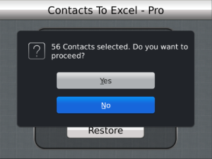 Contacts To Excel Professional v2.0 BlackBerry