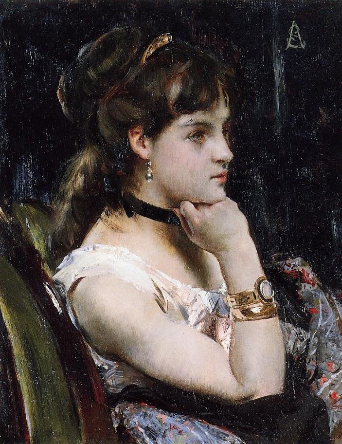 Alfred Stevens - Woman Wearing a Bracelet