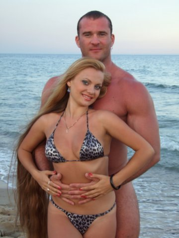Alla Perkova long hair model miss String Bikini bodybuilder