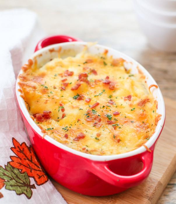 photo of cauliflower gratin in a baking dish