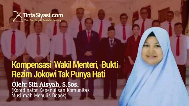 Kompensasi  Wakil Menteri,  Bukti  Rezim Jokowi Tak Punya Hati