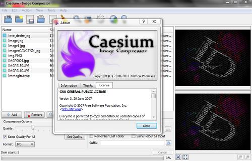Caesium, aplicación para comprimir imágenes