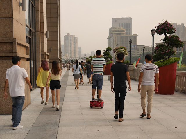 man riding a Segway-like vehicle in Zhongshan, Guangdong