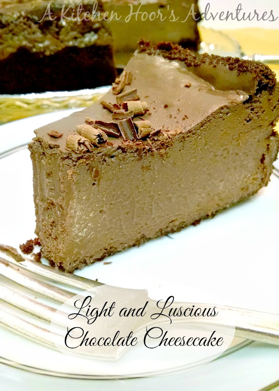 A Kitchen Hoor's Adventures | Light and Luscious Chocolate Cheesecake - Lighten Up the Holidays #SundaySupper