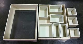 Las nueve cajitas que integran la shadow box