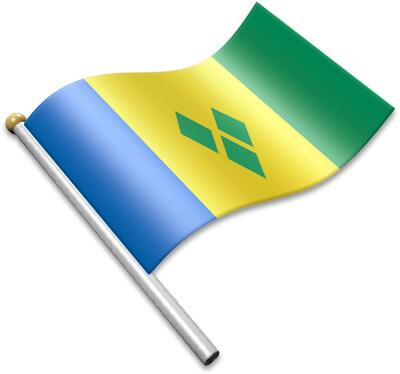The Saint-Vincentian, Vincentian flag on a flagpole clipart image