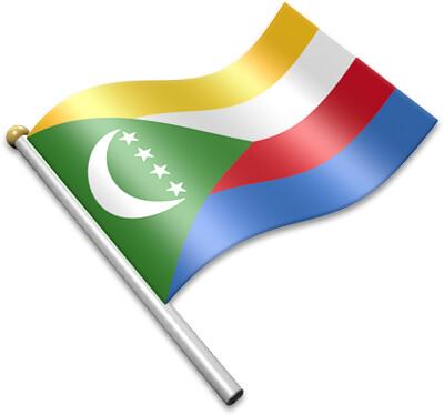 The Comoran flag on a flagpole clipart image