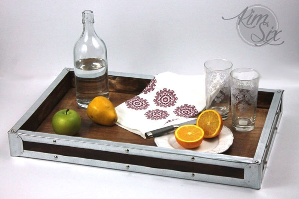 Industrial metal and wood DIY tray