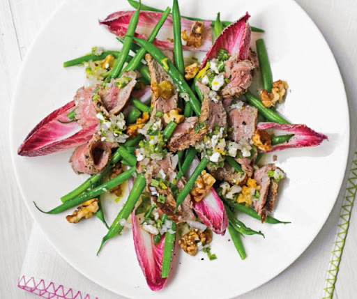 Steak salad with blue-cheese vinaigrette