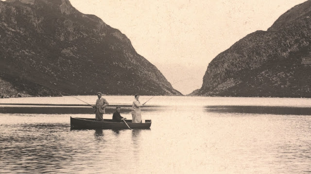 Photograph from an album from around 1880 showing visitors fishing on Loch Beinn Taighe, Eigg. The image is labelled, Loch where we caught a fish. © Historic Environment Scotland. From Lost Heritage of Inner Hebrides uncovered in landmark new book