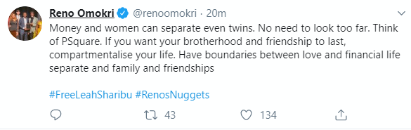 Reno omokri on P-square separation
