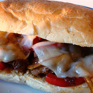 Steak Hoagies with Mushrooms, Onions and Peppers.