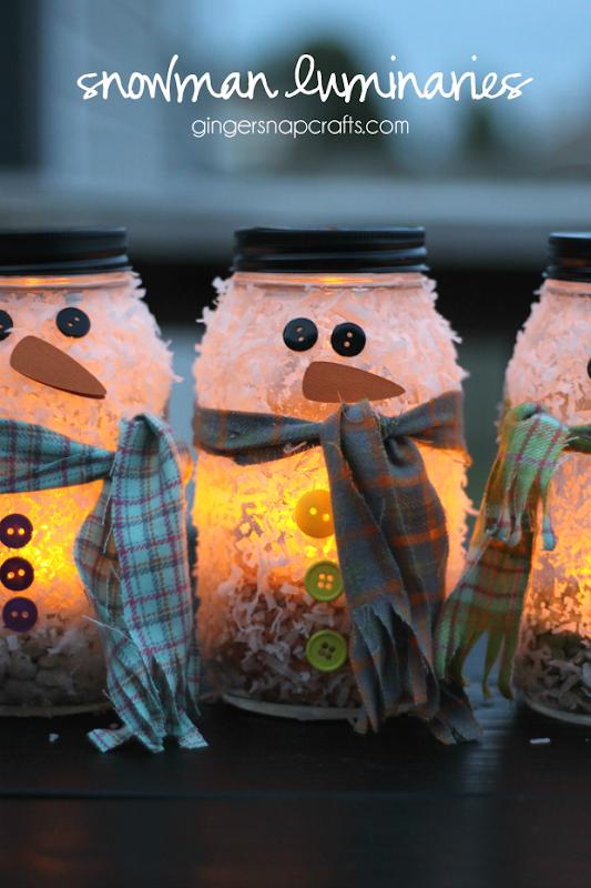 snowman luminaries #kidcraft #hugthemess