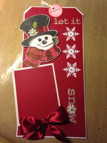 snowman tag, embossing paste, November snowman