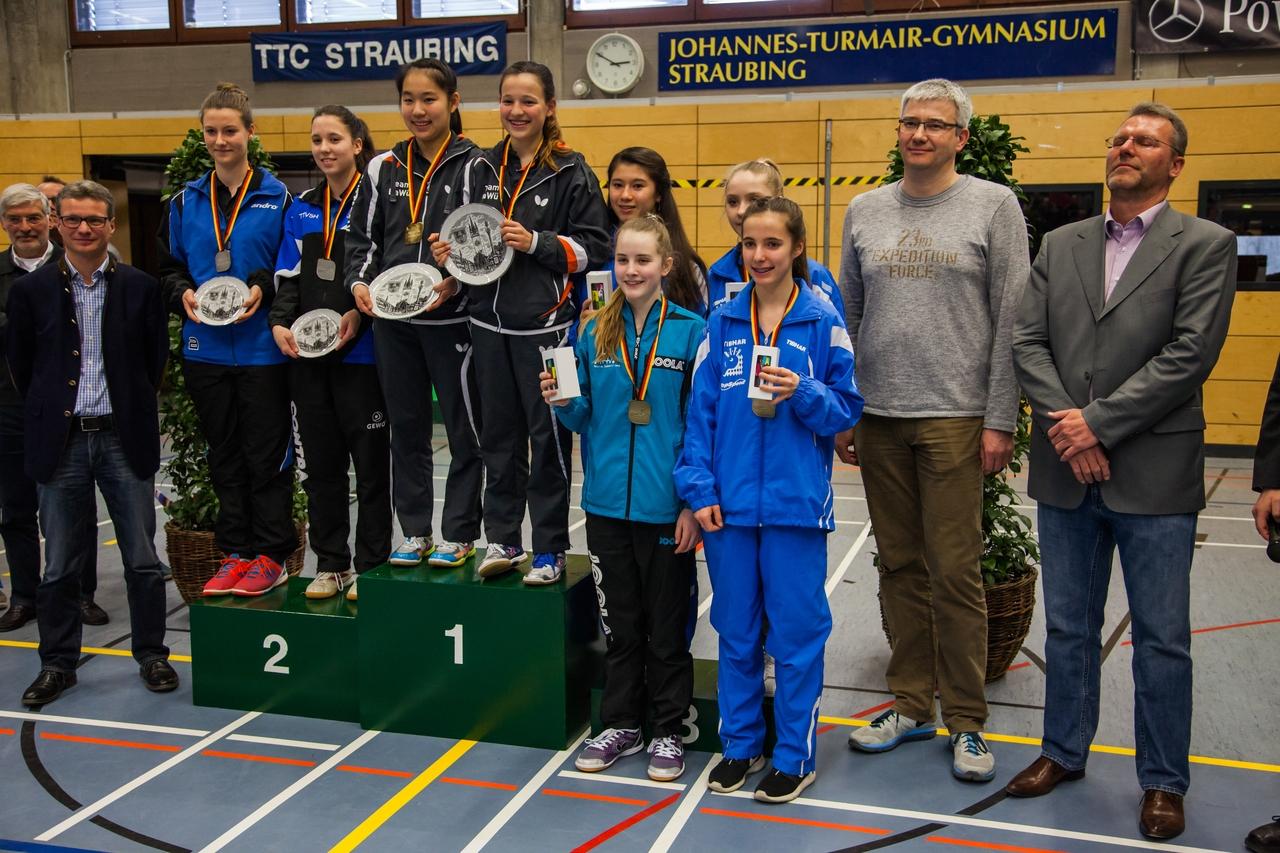 Nationale Deutsche Meisterschaften der Schüler 2016 in Straubing: Siegerehrung Schülerinnen Doppel