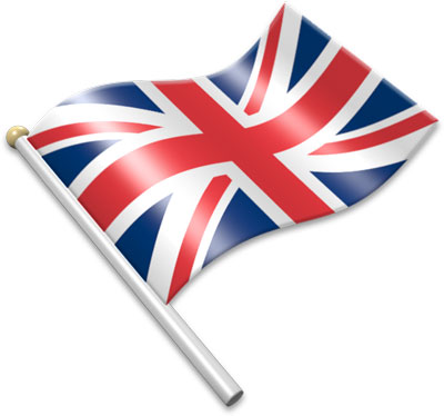 The British flag on a flagpole clipart image