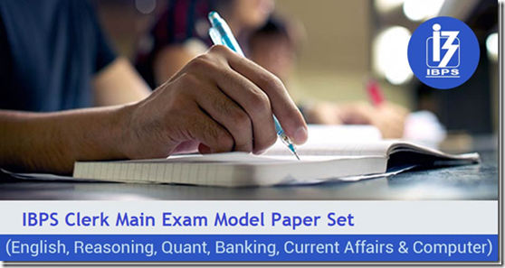 IBPS Clerk 2016 Main Exam Model Question paper 3 PDF