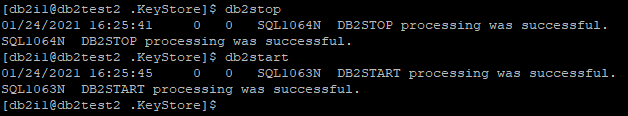 db2stop db2start