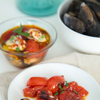 Quick-Pickled Mussels with Seared Cherry Tomatoes
