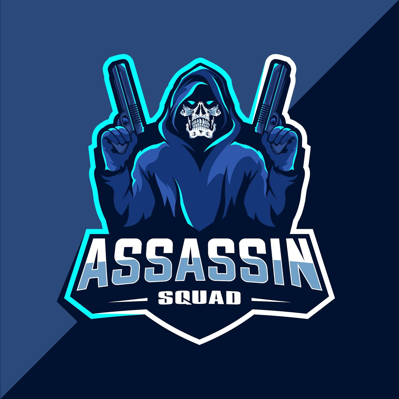 Assassin Skull With Guns Mascot Esport Logo Free Download Vector CDR, AI, EPS and PNG Formats