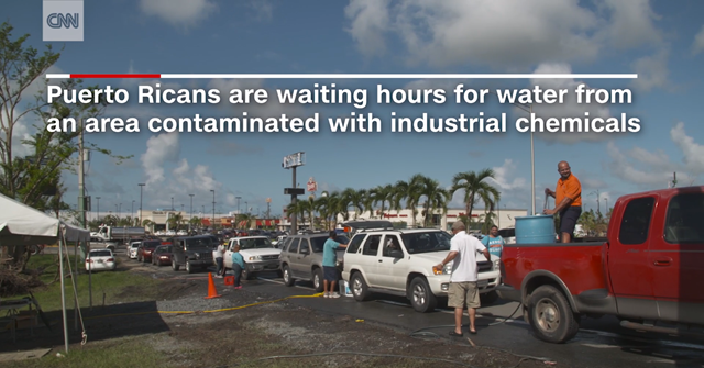 Puerto Ricans are waiting hours for water from an area contaminated with industrial chemicals. Photo: CNN