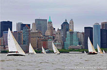 J/105 one-design sailboats- sailing off New York City (Manhattan).